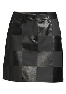 Escada Lalla Checked Leather Mini Skirt