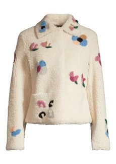Escada Lansy Floral Cropped Shearling Jacket