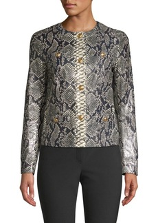 Escada Lany Snake-Print Leather Jacket