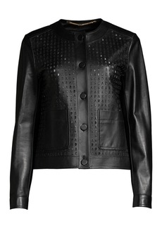 Escada Lascada Laser Cut Logo Leather Jacket