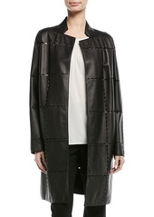 Escada Laser-Grid No-Close Lamb Leather Jacket
