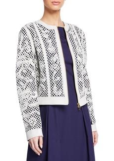 Escada Lattice-Lace Embroidered Leather Jacket