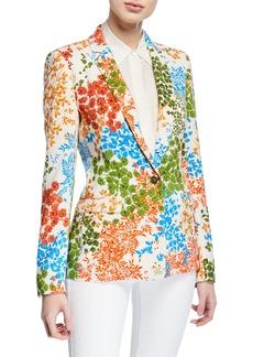 Escada Leaf Print One-Button Jacket