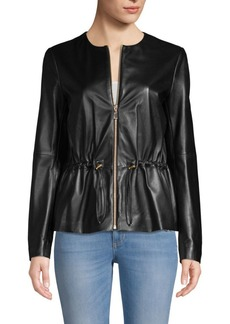 Escada Leather Zip Front Jacket