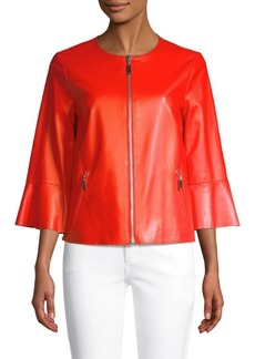Escada Levangelista Leather Bell-Sleeve Jacket
