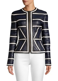 Escada Linsa Pieced Leather Jacket