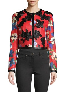 Escada Llooms Floral Leather Jacket