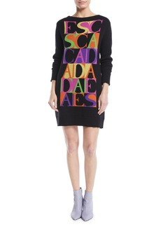 Escada Logo-Intarsia Crewneck Long-Sleeve Cashmere-Blend Sweaterdress
