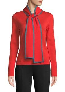 Escada Long-Sleeve Contrast Trim Neck-Sash Wool Pullover Top