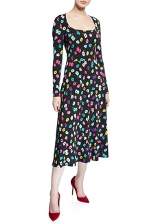 Escada Long-Sleeve Daisy Print Jersey Dress