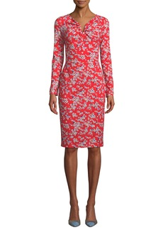 Escada Long-Sleeve Floral-Print Jersey Dress