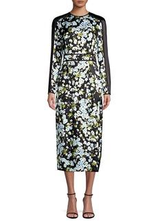 Escada Long-Sleeve Floral Silk Midi Dress