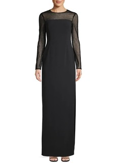Escada Long-Sleeve Illusion Column Gown
