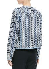 Escada Long-Sleeve Open-Front Woven Leather Jacket
