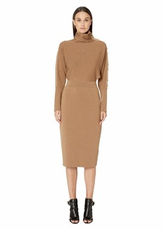 Escada Long Sleeve Rib Knit Dress with Gold Button Sleeve