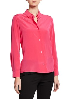 Escada Long-Sleeve Scalloped Silk Blouse