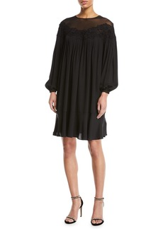 Escada Long-Sleeve Silk Swing Dress w/ Floral Lace Yoke