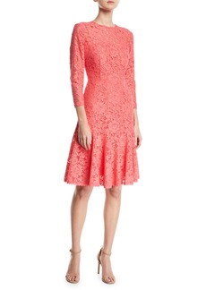 Escada Long-Sleeve Tieback Lace Dress w/ Flounce Hem