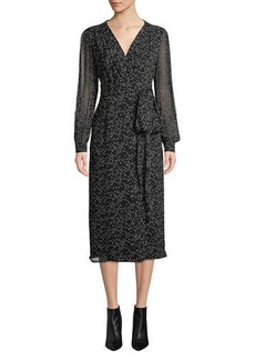 Escada Long-Sleeve Wrap-Front Printed A-Line Midi Dress