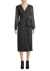 Escada Long-Sleeve Wrap-Front Printed A-Line Midi Dress