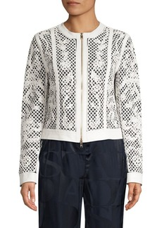 Escada Lydneya Lattice Leather Jacket