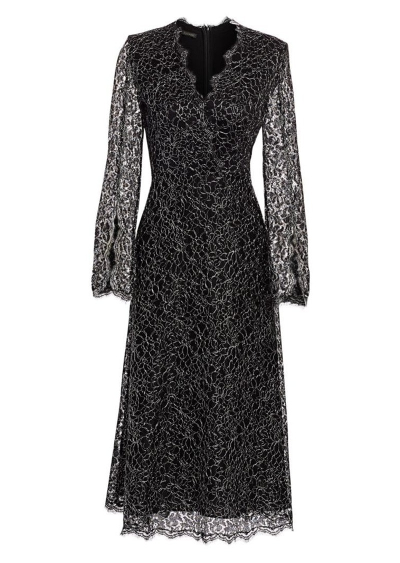 Escada Metallic French Lace Midi Dress