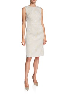 Escada Metallic Jacquard Sleeveless Midi Dress