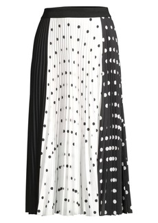 Escada Mixed Polka Dot Midi Skirt