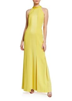 Escada Monochromatic Paneled Halter-Neck Gown