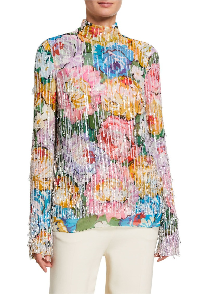 Escada Multi Bold Floral Beaded Top