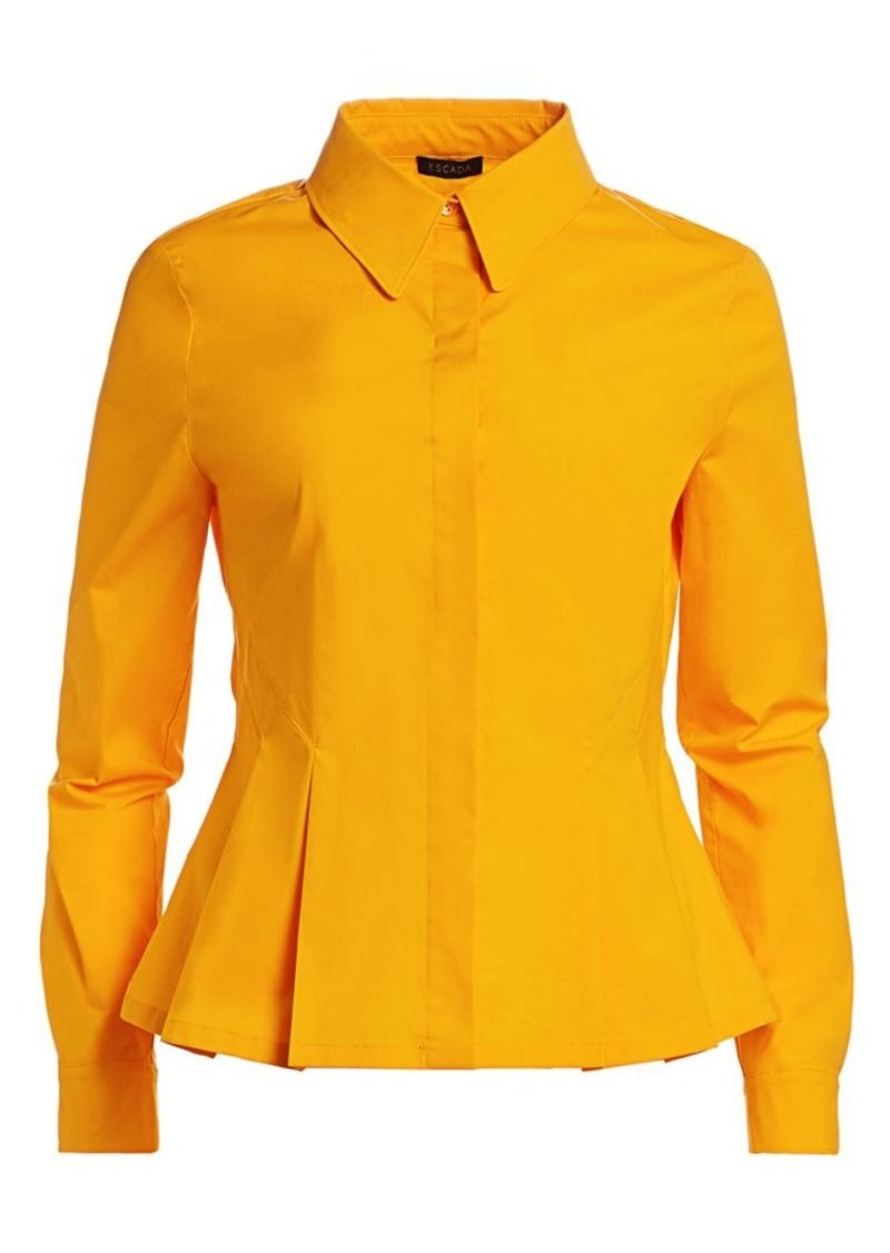Escada Nadasha Stretch-Cotton Peplum Shirt
