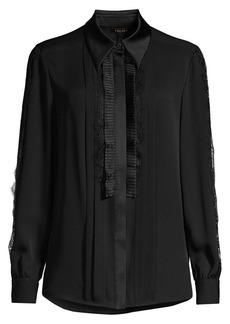 Escada Nadis Lace Front Silk Blouse