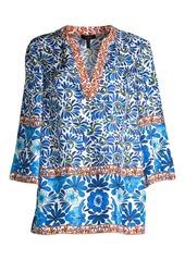Escada Nai Leaf-Print Silk Tunic