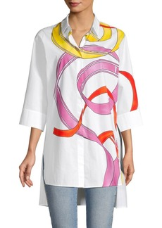 Escada Naidelle Ribbon Print Tunic Shirt