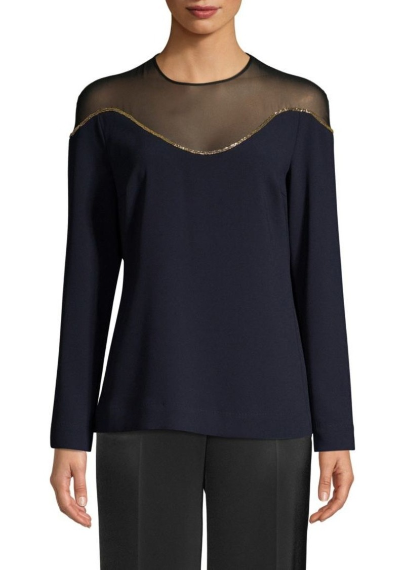 Escada Nartan Long-Sleeve Illusion Blouse