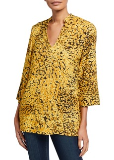 Escada Neam Golden Animal-Print 3/4-Sleeve Tunic