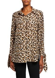 Escada Neddi Leopard-Print Silk Blouse