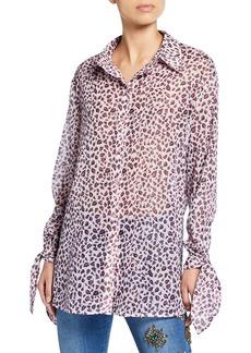 Escada Neddi Leopard-Print Tunic Blouse