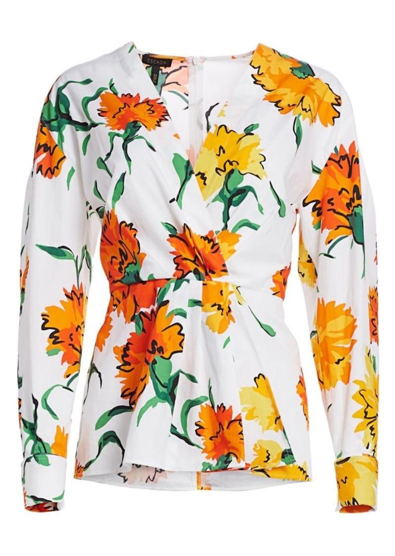 Escada Neheve Marigold Floral Faux Wrap Blouse