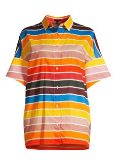 Escada Nelluni Multicolor Stripe Tunic Shirt
