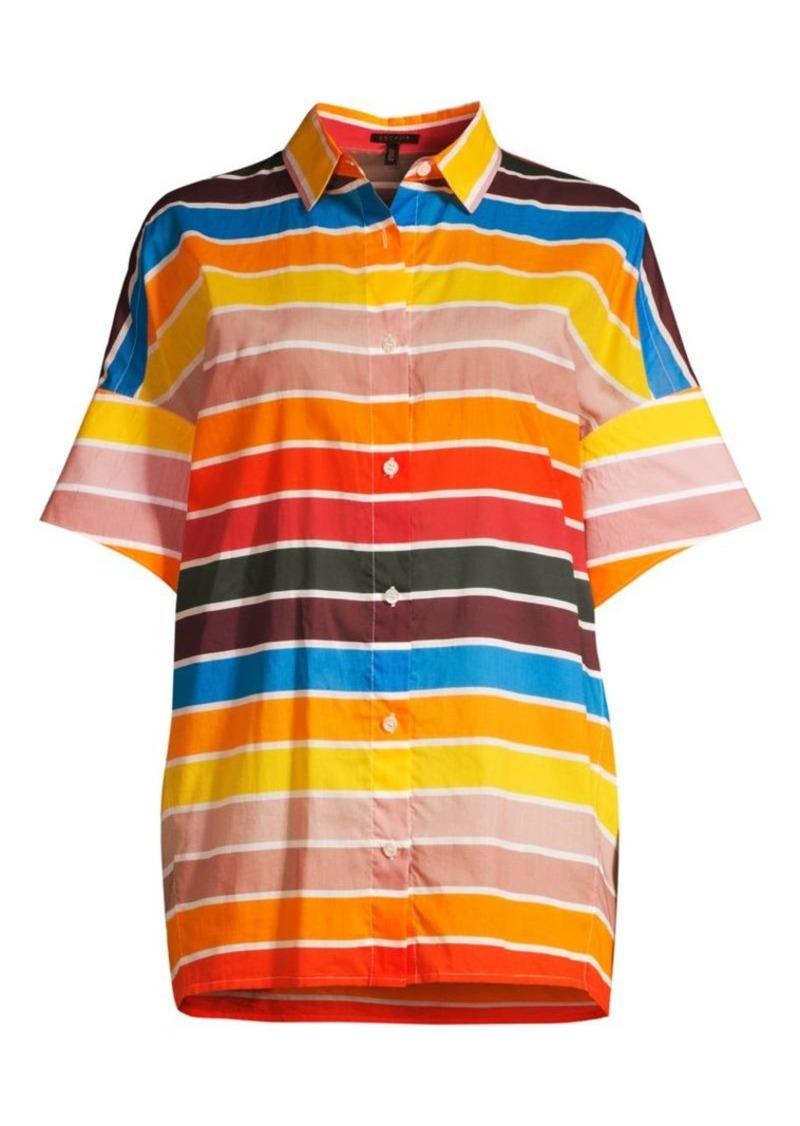 Escada Nelluni Multicolor Stripe Tunic Shirt