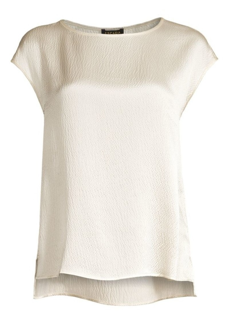 Escada Nerodari Hammered Silk Cap Sleeve Shell