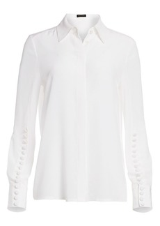 Escada Nescava Button-Trimmed Silk Blouse