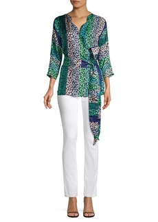 Escada Nianva Scalloped Silk Wrap Top