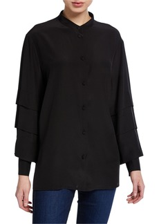 Escada Nicku Silk Tiered-Sleeve Shirt