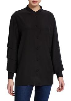 Escada Nicku Silk Tiered-Sleeve Shirt