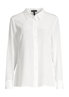 Escada Nicoli Embroidered Trim Silk Blouse