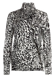 Escada Nihi Abstract Leopard-Print Silk Shirt