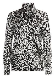 Escada Nihi Abstract Leopard-Print Silk Shirt