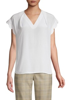 Escada Niquad Silk Scalloped Cap-Sleeve Top